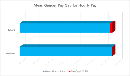 Graph showing the mean gender pay gap of -2.22%