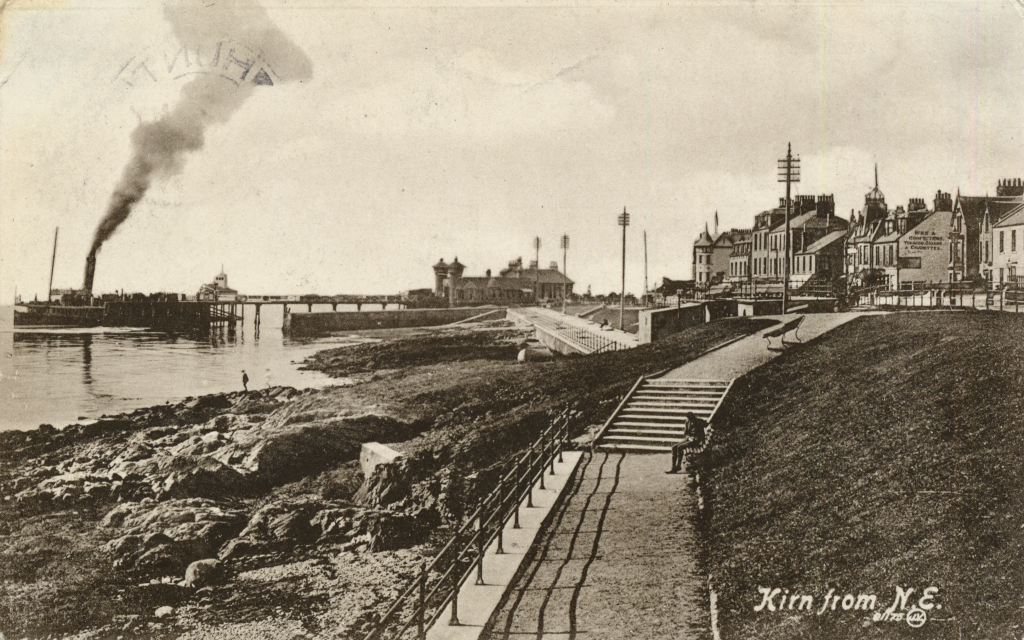 Digitised copy of postcard showing a steamer docked at Kirn pier with adjoining coastline and promenade.