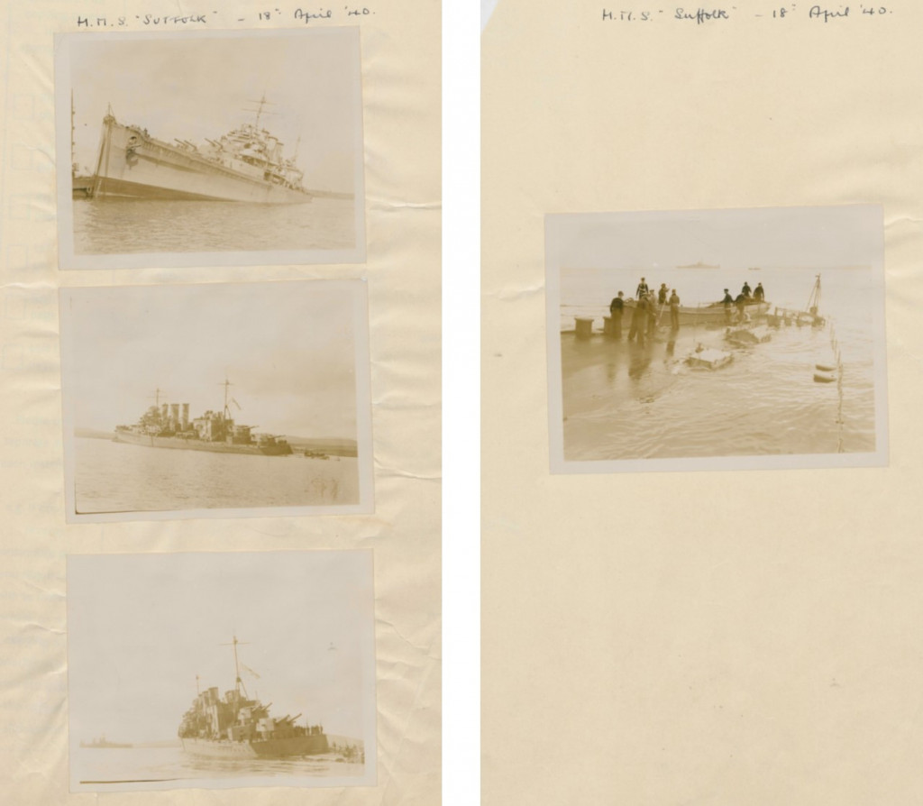Digitised copy of B&W photos showing HMS Suffolk beached at Scapa Flow, Orkney