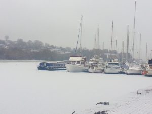 snow-covering-seaport-marina-caledonian-canal